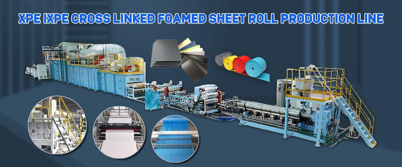 XPE IXPE Cross Linked Foamed Sheet Roll Production Line