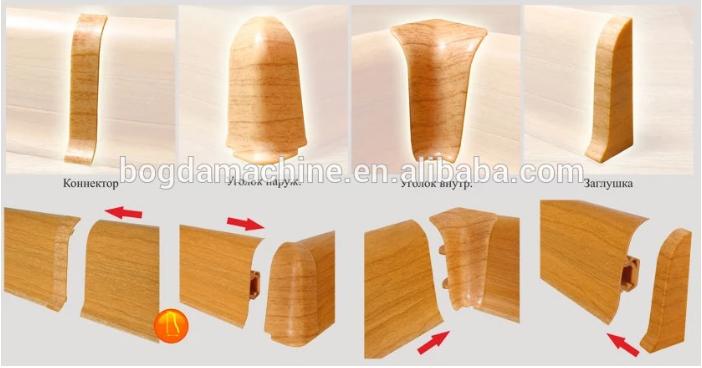 BOGDA PVC WPC floor skirting board foam baseboard extuder PVC profile extrude machine